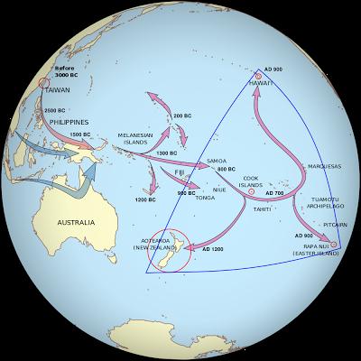 以台灣為起點的南島民族可能遷徙路徑