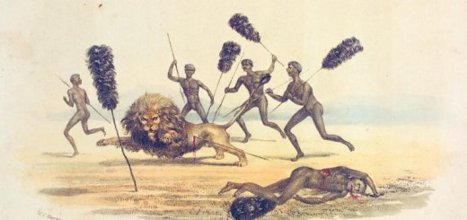 Bechuana_hunting_the_lion-1841