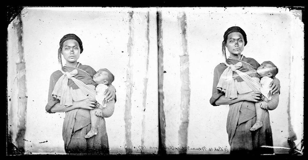 西拉雅族〈木柵婦女與嬰孩〉,John Thomson 攝於 1871 年
