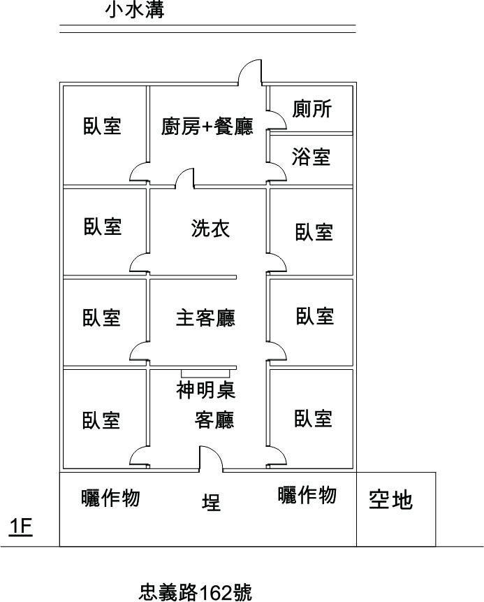 小林村大武壠族前庭後院式住家案例。(繪製/黃英婷)